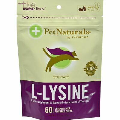 Pet Naturals Of Vermont L-Lysine For Cats Chicken Liver - 60 Chewables 2 Pack