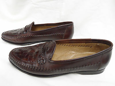 Santoni Men`s Woven Dress Loafers Brown Size 8.5 EE Style181307 . MADE IN ITALY.