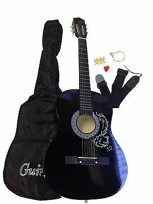 New Black Acoustic Guitar + Gig Bag + Strap + Tuner