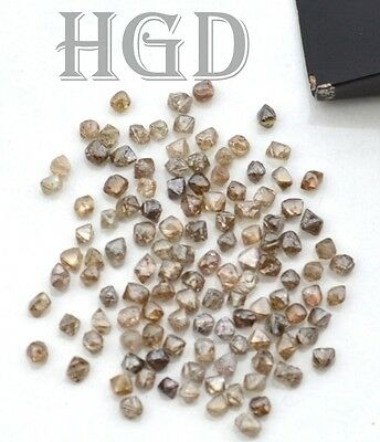 100% Natural Real Dark Brown Uncut Rough Octahedron Crystal Diamonds 2.10mm