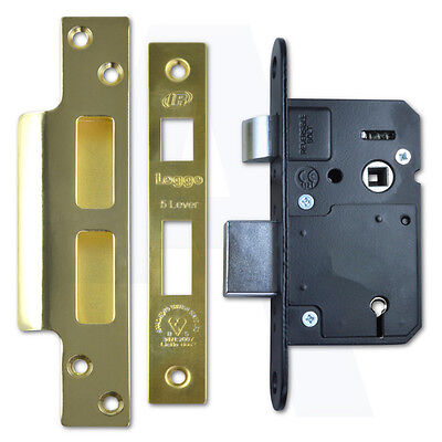 Asec AS11356 5 Lever Mortice Door Sashlock 50mm Narrow Style Polished Brass