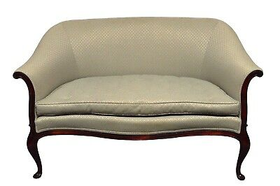Quality French Style Mahogany Queen Anne Settee Loveseat