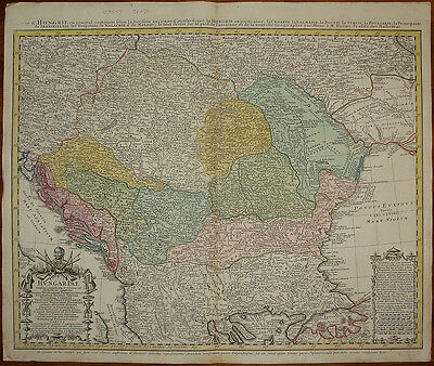 stampa antica old print Ungheria Hungary Magyarországon 1752 homann heirs