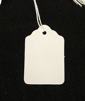1000 LARGE White BLANK Strung Scallop Top Merchandise Inventory Jewelry Tags