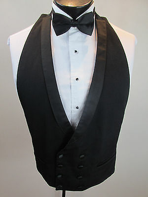 Mens Formal Vest Black Pinstripe Double Breasted Bow Tie Size Small B7