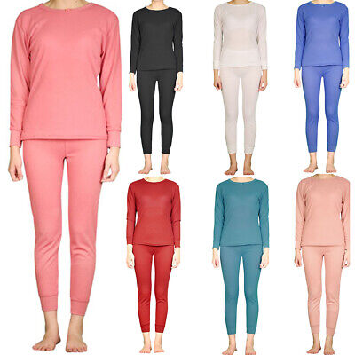 Womens 2pc 100% Cotton Thermal Underwear Set Long Johns Top & Bottom S M L XL 2X