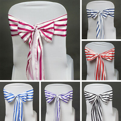 200 x SATIN Stripes CHAIR SASHES Ties Bows Wedding Party Ceremony Decorations