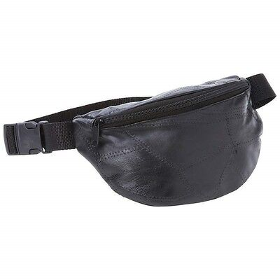 FANNY PACK Black Leather Belt Bag Purse Hip Single Pouch Waist Sports Travel