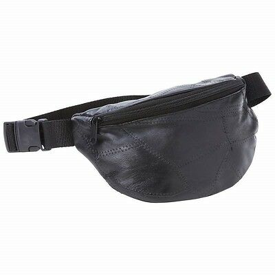 "New 40"" Waist Black Leather FANNY PACK Belt Bag Purse Hip Pouch Sports Travel"