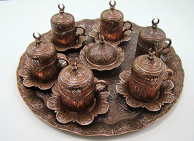 Handmade Copper & Porcelain Turkish- Ottoman Coffee Espresso Set 27 Pcs Tulip