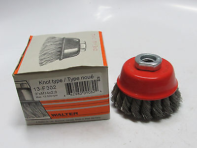 "new WALTER 13F302, 3"" x .015"" Wire Knot Knotted Twisted Cup Brush, M14 x 2 Arbor"
