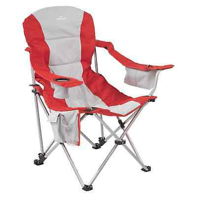 Kathmandu Retreat Foldable Camping 3 Position Recliner Chair Red Grey New