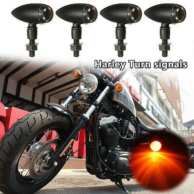 4x Black Motorcycle Turn Signal Indicator Blinker Light For Harley Chopper Bobbe