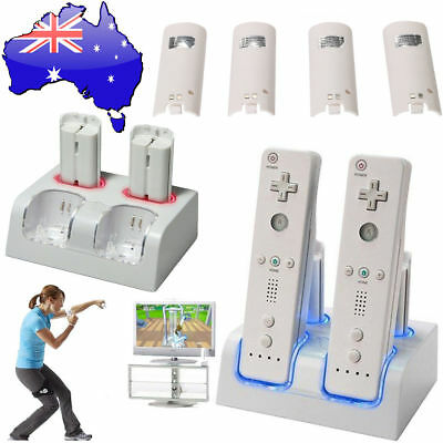 Twin Remote Dual Charger Dock  For Nintendo Wii + 4 Rechargeable Battery Pack