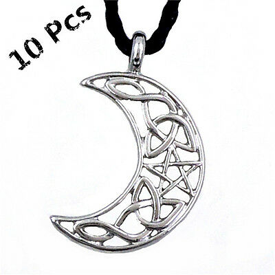 Wholesale 10 Pcs Silver Celtic Cresent Star Knot Pewter Amulet Pendant Necklace