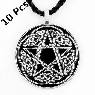 Wholesale 10 Pcs Men's Celtic Infinity Star Amulet Pewter Pendant Necklace