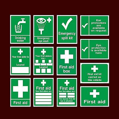First Aid Kit / Drinking Water / Spill Kit / Box / Aider - Plastic Sign, Sticker