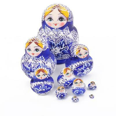 10PCS Vintage Russian Nesting Dolls Christmas Gifts Blue Painted Flowers
