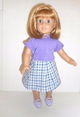 "Doll Clothes 18"" Skirt Lavender Blue Plaid Top Blue Fits American Girl Dolls"
