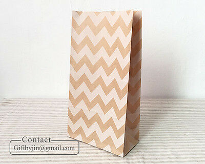 Chevron Kraft Brown Paper Party Wedding Birthday Gift Favor bags_flat bottom bag