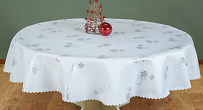 """High Quality Tablecloth """"CHRISTMAS BELLS"""" Round,Oblong:White-Gold,White-Silver."""