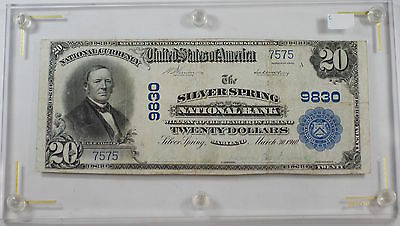 1902 $20 US National Currency Banknote Silver Spring, MD Charter # 9830 *2 Known