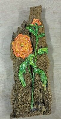 L@@k!!! Antique Wooden hand painted Wall Hanging Plaque with flowers wormy pine