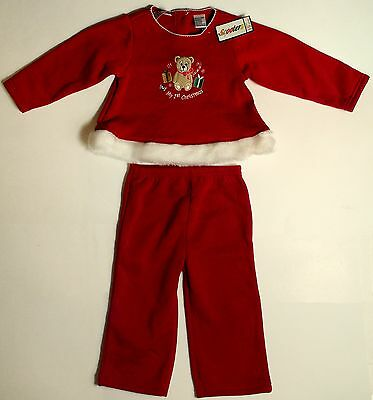 Scooters Baby Boys / Girls My 1st Christmas 2pc Outfit Faux Fur Trim Teddy Bear