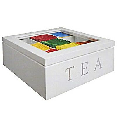 9 Compartments Wooden Tea Storage Box Glass Top Container Chest Tin Square White