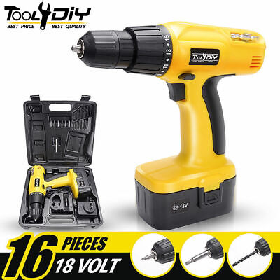 Heavy Duty 18V Cordless Drill Driver Screwdriver & Accessories In Storage Case