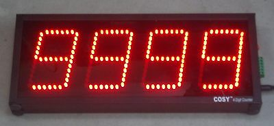 """4 DIGIT PRODUCTION COUNTER DISPLAY in 4"""" High LED Digits"""