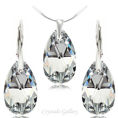 Swarovski Elements Earrings Pendant Necklace Sets Silver 925 Drops***Crystal CAL