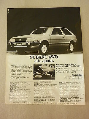 Advertising Pubblicita' Subaru 4Wd Alta Quota  -- 1982