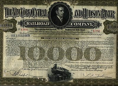 $10,000 1940's New York Central And Hudson River Railroad Bond Stock Certificate