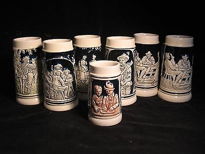 Set of 7 VTG German beer steins, cobalt blue, no lids  Eckhardt & Engler & Hohr