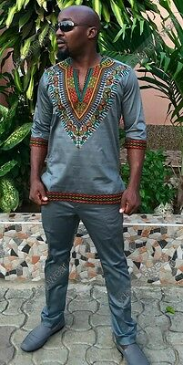 Odeneho Wear Men's Gray Polished Cotton/Dashiki Top+ Bottom.African Clothing.