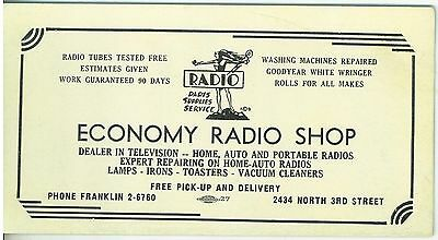 1950s Economy Radio Shop MIlwaukee WI  Advertising Ink Blotter