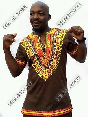 Odeneho Wear Men's Brown Polished Cotton Top/Dashiki Design. African Clothing