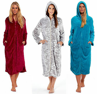 Ladies Hooded Zipped Dressing Gown Flannel Fleece Robe Teal Berry