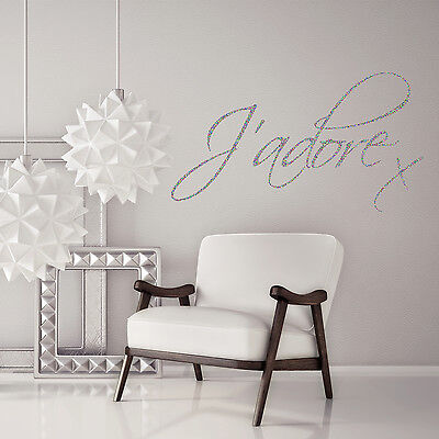 J'adore Love Quote Glitter Sparkly Wall Decal Sticker Vinyl Wall Art