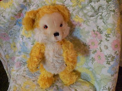 "Merrythought Mohair vintage yellow bear collectable glass eyes 17"" rare cutie!"