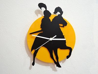 Knight on Horse - Black & Yellow Silhouette - Wall Clock