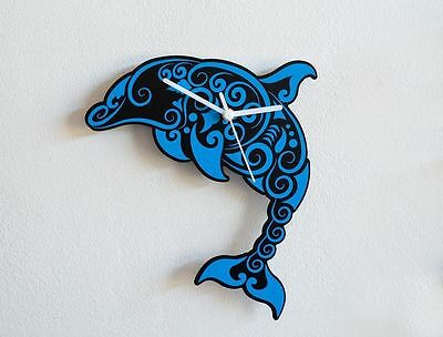 Blue Dolphin - Tribal Wall Clock