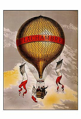 "Art Nouveau Print: Vintage Old HOT AIR BALLOON Poster 16""×12"" Early Flight"