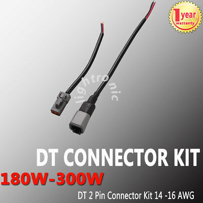 1 Set Deutsch DT 2 Pin Connector Kit 14-16 AWG Nickel Contacts with Wire Cable