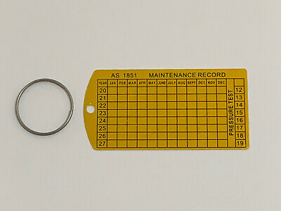 100 x Maintenance Tag and Ring Service Tag & Ring Fire Hydrant Hose Reel AS1851