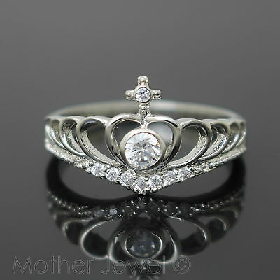 Simulated Diamond Claddagh Sterling Silver Plate Engagement Commitment Ring