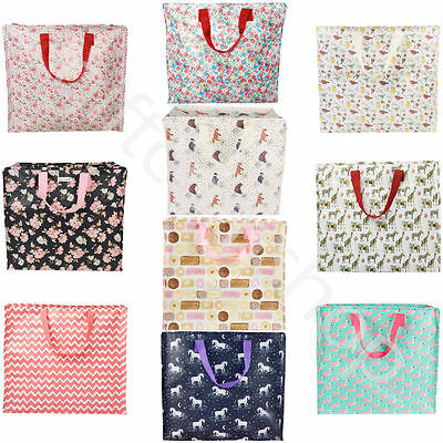 Large Vintage Floral Laundry Bags Zipped Reusable Shopping Tote Bag Storage