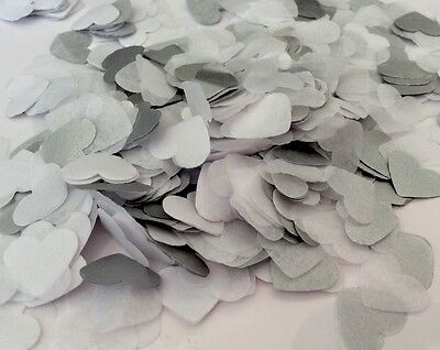 1000 Handmade Tissue Paper Heart Confetti Metallic Silver White Romantic Wedding