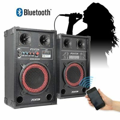 "2x 8"" Active USB/SD Party Speakers 400W + Bluetooth Music Receiver + Cables"